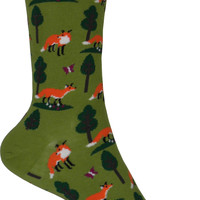 Foxes Crew Socks in Fern