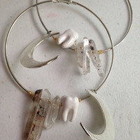 The lunar molar large hoops ceramic tooth rutilated quartz crystals crescent moon earrings