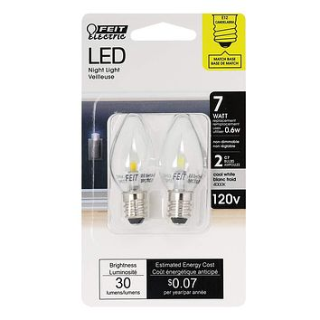 Feit Electric BPC7/LED Three LED Night Light Bulb with Candelabra Base, Clear, Pack of 2 2 Pack