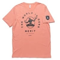 The World Is Ours Tee - Peach/Black