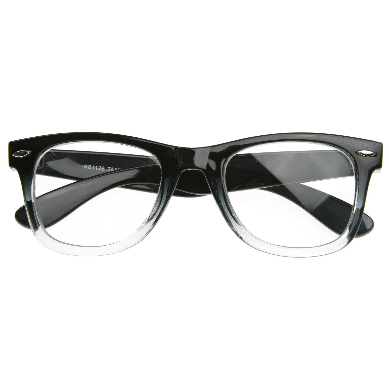 Image of Two Tone Retro Color Fade Clear Lens Horned Rim Glasses 8536