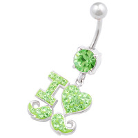 I Love Peridot Crystal Dangle Belly Ring For Girls [Gauge: 14G - 1.6mm / Length: 10mm] 316L Surgical Steel & Crystal