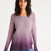 AEO Mixed Stitch Cable Sweater, Purple