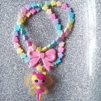 Fairy Kei - Lalaloopsy Fairy Doll and Bow Charm on Pastel Rainbow Star Necklace with Matching Stretch Bracelet