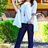 TOP OF THE TRIBE CHIFFON TOP IN WHITE