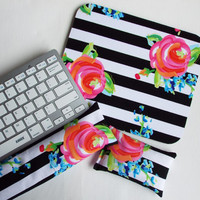 Mouse pad, keyboard rest, and mouse wrist rest set - black white stripe roses floral - coworker desk cubical office accessories