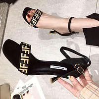 FENDI Popular Women Sexy F Letter Sandal Slipper Shoes High Heels