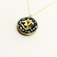 Om pendant necklace, gold charm neclace, mosaic pendant necklace, gold charm necklace, yoga pendant, brass and mother of pearl