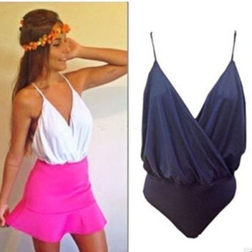 Women Sexy Cami Vest Plunge Wrap Backless Blouse Bodysuit Romper Club Jumpsuit = 1955861508