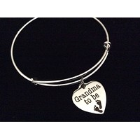 Grandma to Be Stainless Steel Expandable Charm Bracelet Handmade in USA Wire Bangle Gift Trendy Stacking