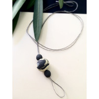 Minimal  Marbled  Polymer Clay Beads Necklace