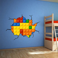 Kids Brick Wall - Decal, Sticker, Vinyl Wall Decal, Housewares, Home, Bedroom Decor, Gift - Boys Room, Girls Room