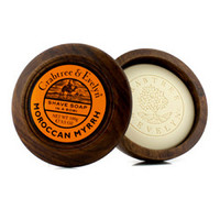 Moroccan Myrrh Shave Soap In Wooden Bowl 100g/3.5oz