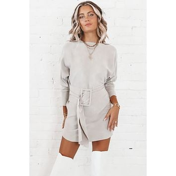 In Plain Sight Gray Sweater Dress