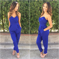 SweetHeart Jumpsuit- Blue | Fashion Nova