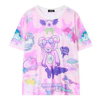 Tops and Tees T-Shirt Pastel Goth Cute Pink T Shirt Bear Monsters Whatever Bitch Graffiti Funny Casual T-shirt Women Fashion Novelty Short Sleeve Tee AT_60_4 AT_60_4