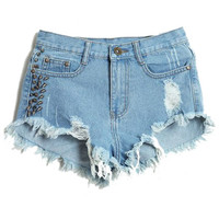 ROMWE   Riveted Distressed Broken Ligth Blue Shorts, The Latest Street Fashion