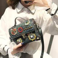Small Bag Embroidery Rivet Small Square Bag Fashion Casual All-match Diagonal Package