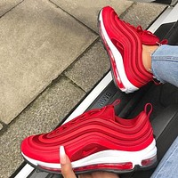 AIR MAX 97 NIKE  Classic Popular Women Men Casual Running Sport Couple Shoes Sneakers Red I/A