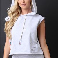 French Terry Sleeveless Slashed Hooded Crop Top