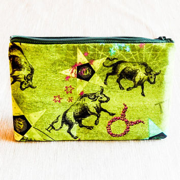Taurus Pouch, Gift for Taurus, Gift for Her, Teacher Gift, Grad Gift, Zipper Pouch, Pencil Case, Zipper Pouch, Coin Purse, Taurus Pouch
