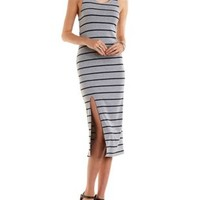 Racerback Striped Midi Tank Dress