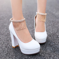 Fashion 2016 women Pink high-heeled shoes spring lady thick heel back single shoes female sweet white Wedding high heel shoes