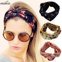 10colors Fashion Retro Women Elastic Turban Twisted Knotted Headband Ethnic Floral Wide Stretch Girl Yoga Hair Accessories 2016