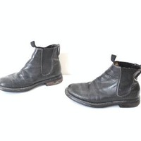 size 8.5 Timberland CHELSEA boots / early 90s GRUNGE minimalist black leather slip on