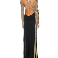 Emilio Pucci Beaded Long-Sleeve Column Gown with Open Back