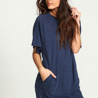NAVY SPECKLED KNIT TEE DRESS WITH POCKETS