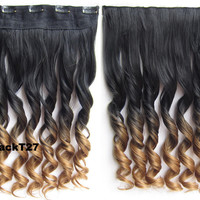 """Dip dye hairpieces New Fashion 24"""" Women Clip in on gradient wig Bath & Beauty Hair Ombre Hair Extensions Two Tone Curly Hair Gradient Hair Extension Colorful Hairpieces GS-888 Black T 27,1PCS"""