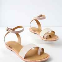 Sundown Pink Leather Flat Sandals