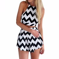IT'S A BLACK & WHITE CHEVRON THING TWO PIECE SET