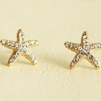 Fashion Rhinestone Golden Star Stud Earrings