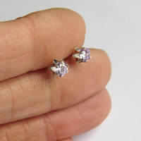 Tiny Lavender Zirconia Silver Stud Earrings, CZ Lavender Cubic Zirconia stone 4mm - Everyday Jewelry - Simple Handmade Jewelry