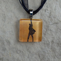 Broadway Musical Glass Pendant and Ribbon Necklace