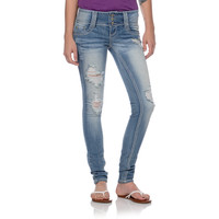 Almost Famous Ellie Light Wash Skinny Jeans at Zumiez : PDP