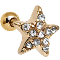 18 Gauge Clear CZ Gold Plated Feel Like a Star Cartilage Tragus Earring | Body Candy Body Jewelry