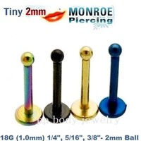 "Tiny 2mm ball 18g~1/4"", 5/16"" ,3/8"" Titanium Anodized 316L Labret Monroe Tragus"