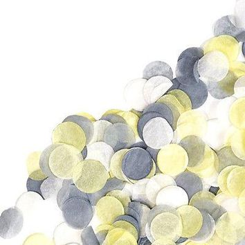Gray Yellow White Tissue Paper Circle Confetti Party Decoration Grey Party Favor