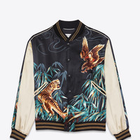 SAINT LAURENT TEDDY JACKET IN NAVY BLUE, BLACK AND BROWN EAGLE AND TIGER PRINTED VISCOSE | YSL.COM