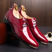 Men's High-Back Shiny Designer Dress Shoes