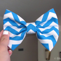 Blue Chevron Hair Bow by WeHeartBowsShop on Etsy