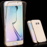 Ultra Thin 2 in 1 Clear Dirt-resistant Cover For Samsung Galaxy S7 Edge G9350 G935A Flexible 360 Degree Smart Touch Screen Case