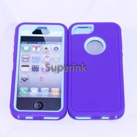 Multi Color Iphone 5 5S Body Armor Silicone Hybrid Cove Hard Case, Three Layer Silicone PC Case Cover for iPhone 5 5S (Purple+Baby Blue)