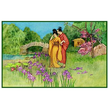 Goble's Young Japanese Lovers Counted Cross Stitch Chart Pattern Graph