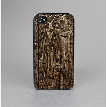 The Rough Textured Dark Wooden Planks Skin-Sert Case for the Apple iPhone 4-4s