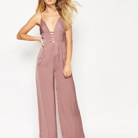 ASOS Jumpsuit In Satin With Multi Strap Front