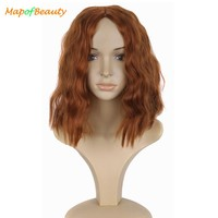 MapofBeauty Curly For Women Middle Part Cosplay Wig Avengers Black Window Synthetic Hair Heat Resistant Red Brown Cos Hairpieces
